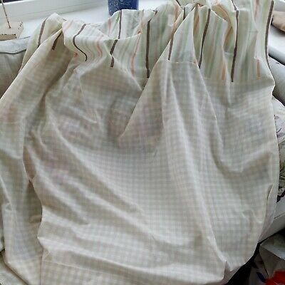 £13.50 • Buy Beige Gingham Check Light Weight Unlined Curtains L53 X W52 Inches