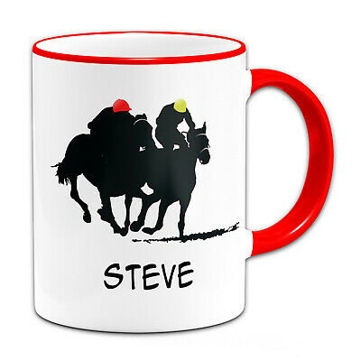 £7.99 • Buy Personalised (Any Name) Horse Racing Sillouette Gift Mug-Red