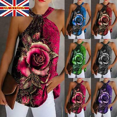 £4.79 • Buy Womens Rose Floral Printed Blouse Halter Neck Cami Vest Evening Party Tops Size
