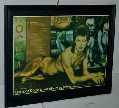$34.99 • Buy David Bowie 1974 Diamond Dogs Concert Tour Promotional Framed Poster / Ad