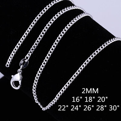 AU3.39 • Buy Wholesale New 925 Sterling Silver Filled 2mm Classic Chain Necklace For Pendants