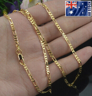 AU4.65 • Buy Wholesale 18K Yellow Gold Plated 2mm Classic Figaro Chain Necklace Mens & Womens