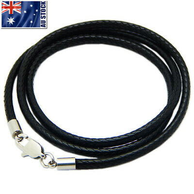 AU5.15 • Buy Black Woven Necklace Rope Leather Cord Stainless Steel Lobster Clasp Mens Womens