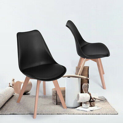 AU63.99 • Buy  Modern 2PC Dining Chairs Non-slip Solid Wood Leg PU Leather Leisure Office AU