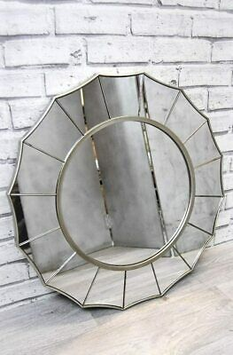 £44.50 • Buy Wall Mirror Ornate Champagne Silver Gold Frame With Panels Sunburst Round
