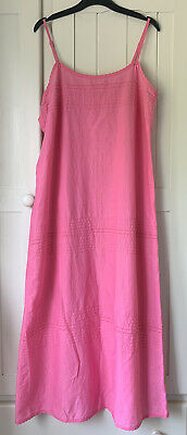 AU16.82 • Buy Marks & Spencers Size 12 Pink Cotton Long Strappy Dress Sleeveless