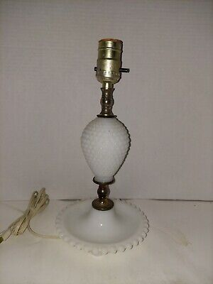 $14.24 • Buy Vintage White Hobnail Milk Glass Electric Table Lamp 12  No Shade Working