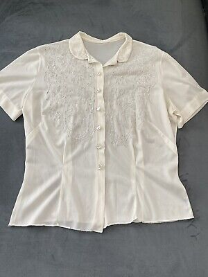 £28.81 • Buy 90s Edwardian Embroidered Collar Button Up Blouse Size Small/medium