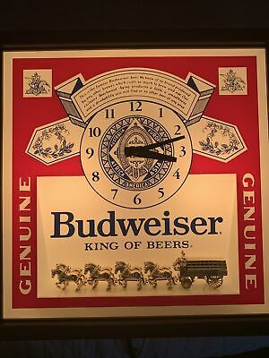 $ CDN74.27 • Buy 1986 Budweiser Beer 3D Clydesdales Lighted Clock . Clock Keeps Perfect Time.
