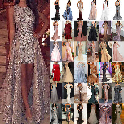 AU31.89 • Buy Women Lady Sexy Sequins Glitter Maxi Long Dress Evening Party Cocktail Prom Gown