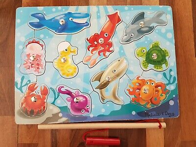 £2.50 • Buy Melissa  Doug Magnetic Wooden Fishing Game And Puzzle With Wooden Ocean Animal
