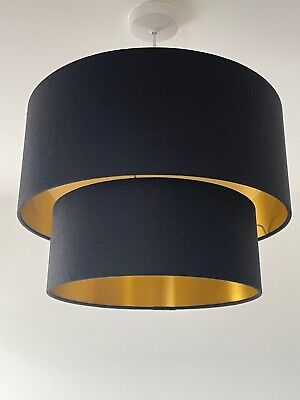 £70 • Buy Lampshade Two Tier Black Textured 100% Linen Brushed Gold Drum Light Shade