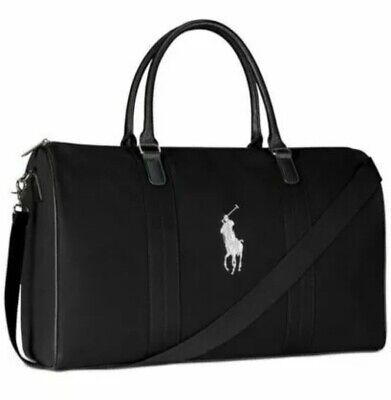 $44 • Buy POLO Ralph Lauren DUFFLE Gym CARRY-ON Weekender Bag BLACK With Strap NEW AUTHENT