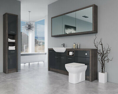 £2070 • Buy Bathroom Fitted Furniture 1800mm Anthracite Gloss / Mali Wenge D2 With Wall & Ta