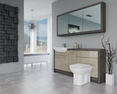 £1530 • Buy Bathroom Fitted Furniture 1700mm Cappucciono Gloss / Mali Wenge D3 With Wall Uni