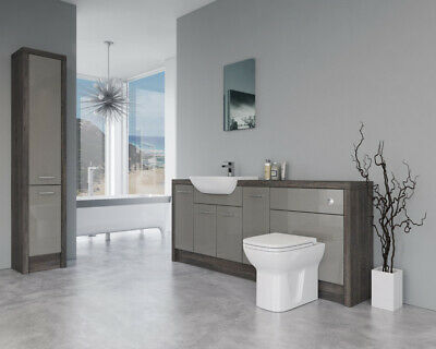 £1285 • Buy Bathroom Fitted Furniture 2000mm Latte Gloss / Mali Wenge D3 With Tall Unit - Ba