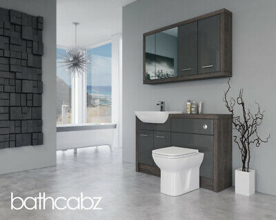 £990 • Buy Bathroom Fitted Furniture Dark Grey Gloss / Mali Wenge D2 1300mm With Wall Unit