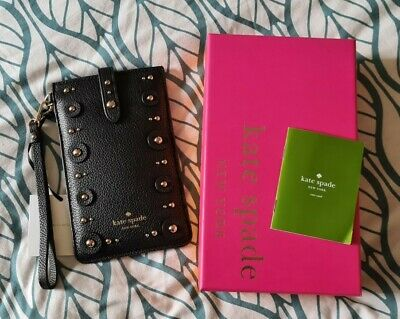 £20 • Buy Kate Spade Black Studded Wristlet Phone Pouch Case Cover Wallet Purse
