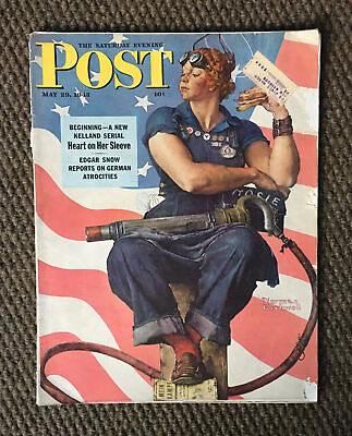 $ CDN188.76 • Buy Vintage 1943 SATURDAY EVENING POST WWII Rosie The Riveter By Norman Rockwell