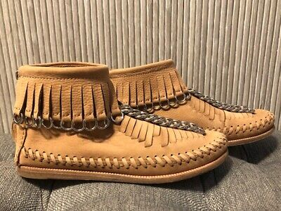 AU122.44 • Buy Authentic Alexander Wang Beige Leather Montana Moccasin Fringe Boots Size 36