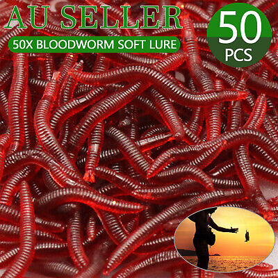 AU5.99 • Buy 50PCS Bloodworm Soft Plastic Lure Fishing Worm Bait Red Bloodworms Whiting Bream