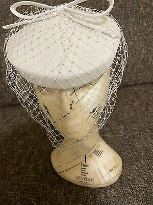 £29.99 • Buy Ladies White Pillbox Hat Full Net Bow Vintage Wedding Cocktail Party Races BHS