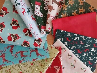 £1.75 • Buy 11 Christmas Prints Cotton&polycotton Patchwork, Craft ,remnant, Material,fabric