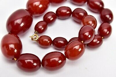 £1150 • Buy Superb Vintage Polished Cherry Amber Baltic Graduated Bead Necklace & Box