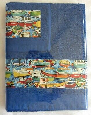 """£9.50 • Buy NAUTICAL, Boats, Harbour, Summer, Beach - Hand Towel & Flannel Gift Set """"B"""""""