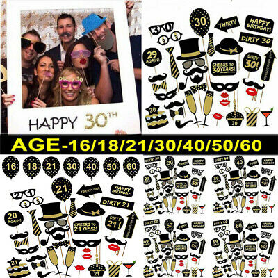 £3.69 • Buy 16/18/21/30/40/50/60th Happy Birthday Party Photo Booth Props Party Decor Selfie