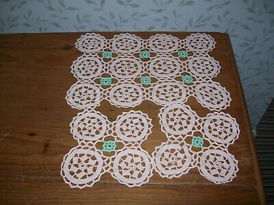 £8 • Buy 3 Crochet Table Mats/dressing Table Mats Pink Background With Green Pattern