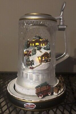 $ CDN41.54 • Buy Budweiser Clydesdale Holiday Cheer Crystal Stein Light Motion Sound