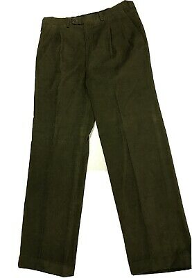 $30 • Buy Vintage SULKA Corduroy Slacks 34x31 Olive Green Pleated Cuffed MADE IN ITALY