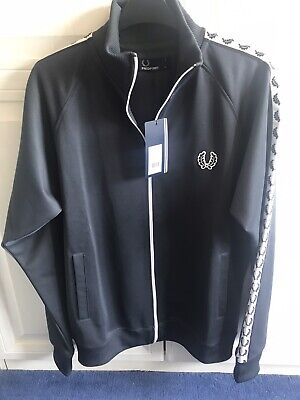 £25 • Buy BNWTS Boys FRED PERRY  Charcoal Grey Taped Track Top Size Youth XL RRP £55
