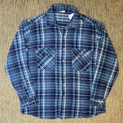 $27.99 • Buy Field & Stream Mens L Shirt Jacket Button Up Heavy Flannel Blue Plaid Check