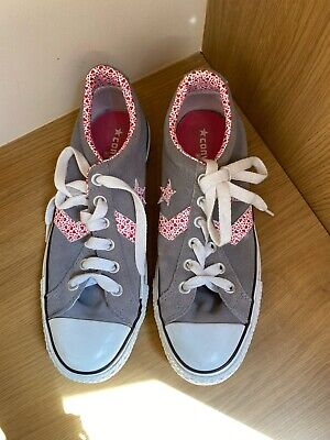 £4.20 • Buy Women's Converse Grey All Star Trainers With Pink/red Hearts In Size UK 7