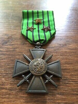 £28.99 • Buy WW2 French Vichy Croix De Guerre Medal 1939-1940 With 3 Bronze Gilt Stars MID