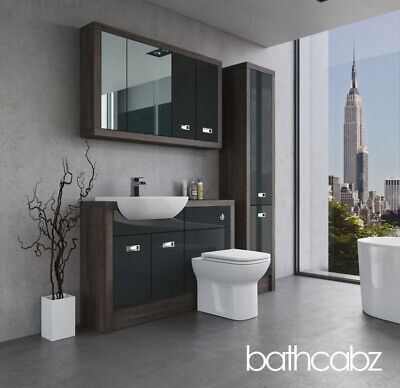 £1545 • Buy Bathroom Fitted Furniture Anthracite Gloss/mali Wenge 1200mm With Wall & Tall -