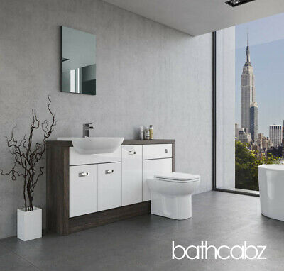 £785 • Buy Bathroom Fitted Furniture White Gloss/mali Wenge A1 1500mm - Bathcabz