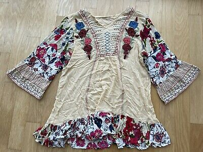 $ CDN21.39 • Buy Anthropologie Boho Floral Embroidered Top Shirt Blouse XL
