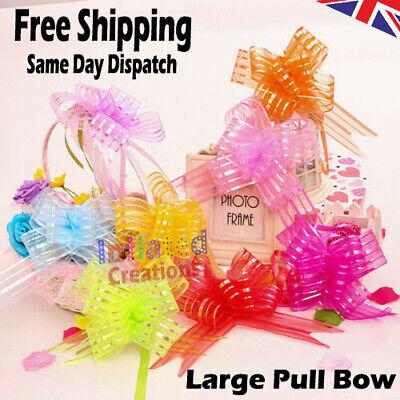 £2.47 • Buy 20 Pieces Pull Bow Large 50MM Organza Wrapping Pull Bow With Ribbon For Wedding