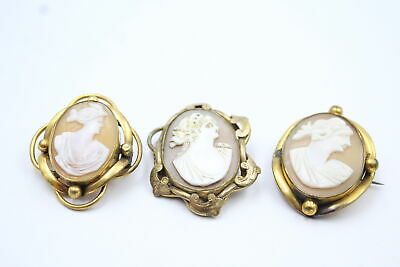 £5.50 • Buy 3 X Antique Carved Shell CAMEO BROOCHES Inc. Ornate Setting