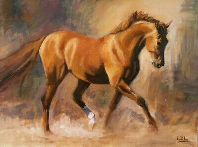£22 • Buy Elgant Brown Chestnut Horse Painting Canvas Framed Wall Art 30x18 Inch