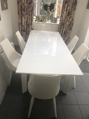 £150 • Buy White Gloss Extending Dinning Table With 6 White Chairs