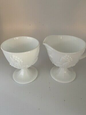 $17 • Buy Indiana Harvest Milk Glass Creamer Sugar Bowl Tray - Colony Grapes And Leaves