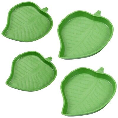 £5.99 • Buy 4 Pieces Leaf Reptile Food Water Bowl Plate Dish For Tortoise Corn Snake Cl J8A6