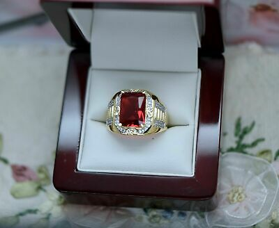 $129.53 • Buy 4.00 CT Red Ruby Men's Antique Art Deco Vintage Band Ring 14k Yellow Gold Finish