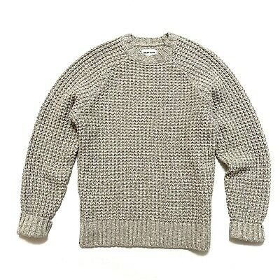 $114 • Buy Taylor Stitch 38 / S The Fisherman Sweater Natural Tan Chunky Waffle Crew Knit