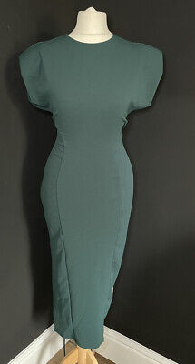 AU6.17 • Buy Womens ASOS Green Ribbed Open Tie Back Midi Dress With Shoulder Pads Size 16