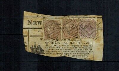 £3.50 • Buy East India 1860 Qv Stamps X 3 On Newspaper Piece Total Postage 2 Annas 8 Pies